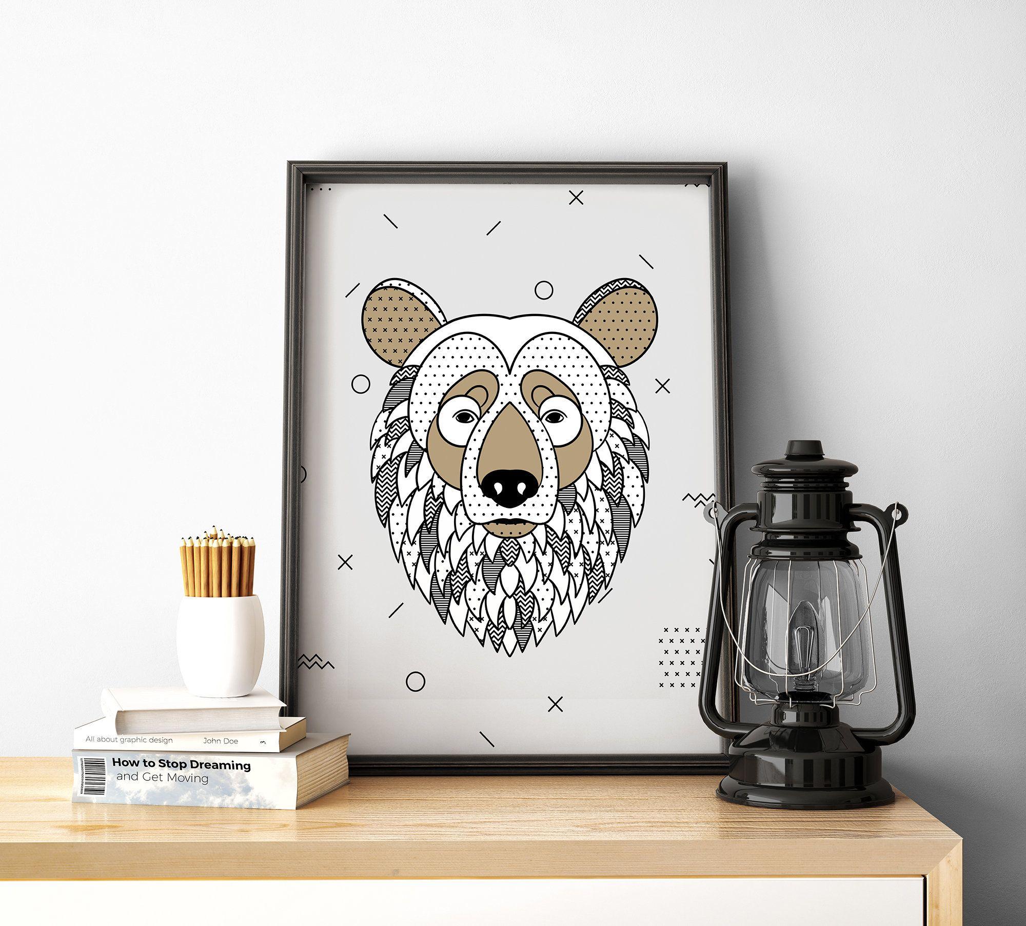 Bear Folk Art Print Grizzly Bear Brown Bear Scandi Art Etsy Scandi Art Nursery Wall Art Laundry Room Art