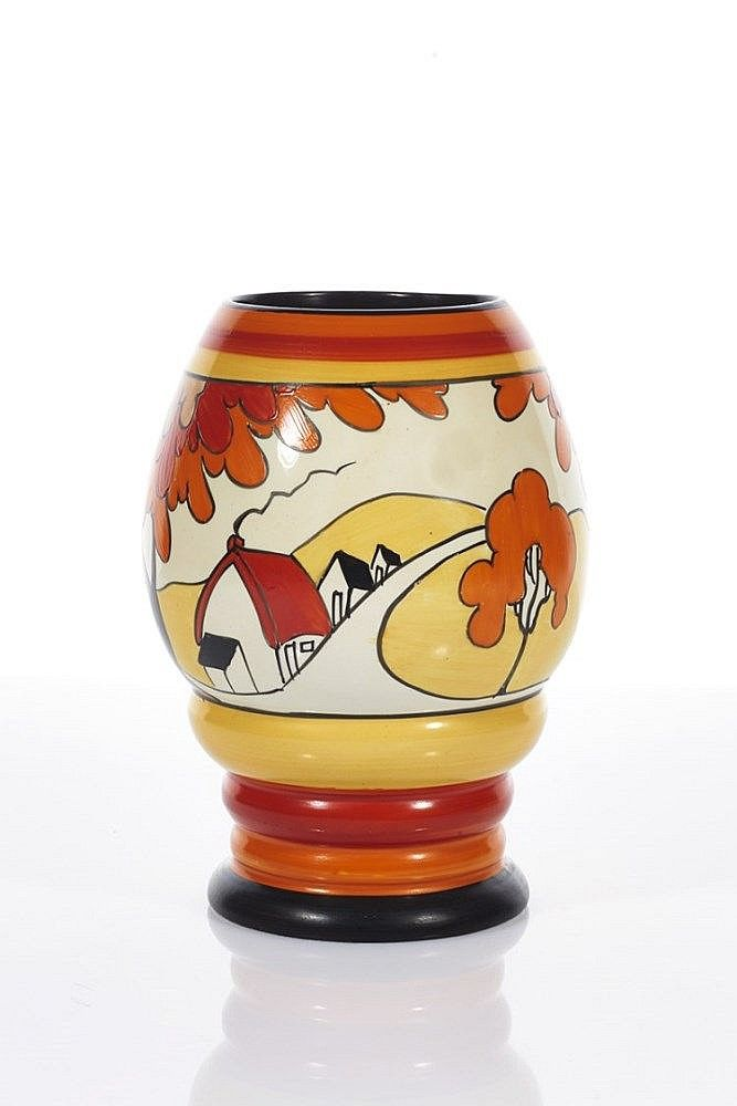 Clarice Cliff Br Bizarre Vase Br House And Bridge Pattern