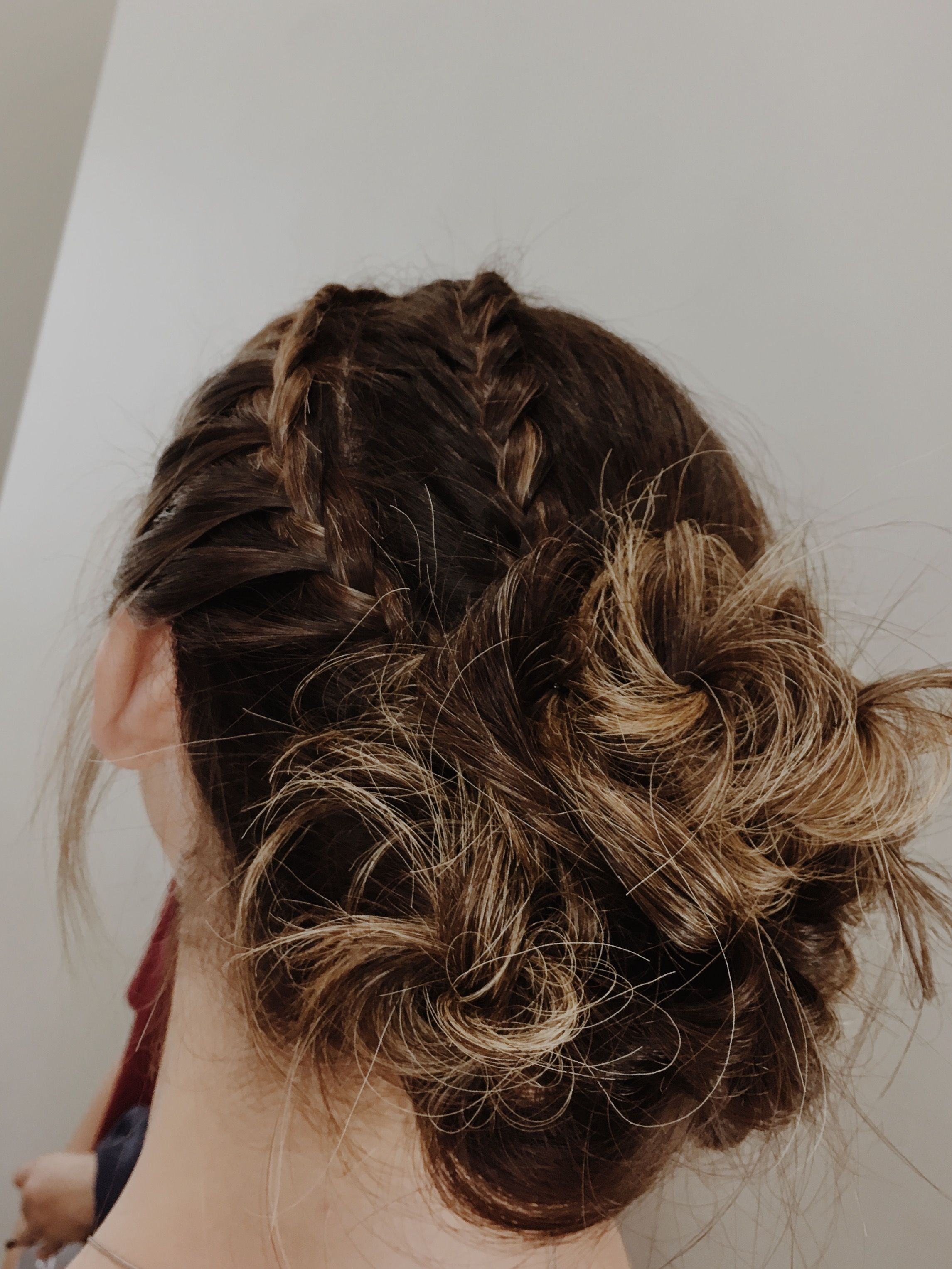 two french braids to messy bun updo hair by cam Pinterest