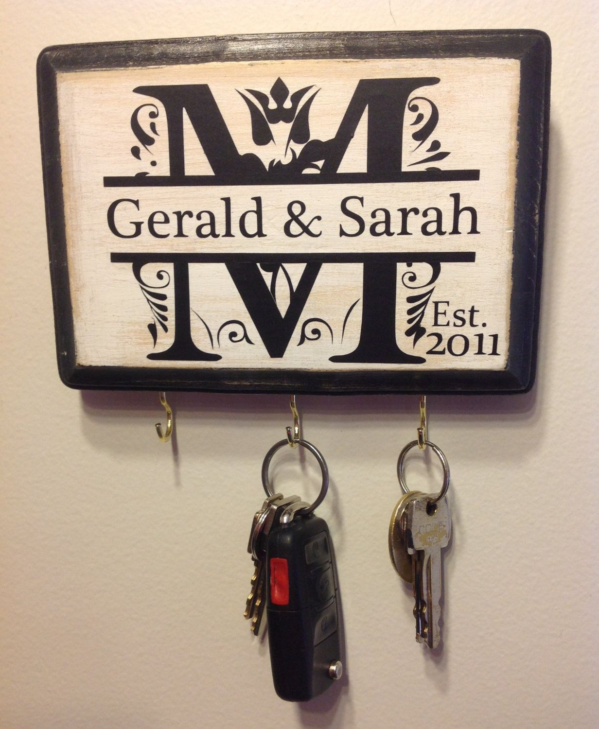 Personalized Key Holder for Wall Wedding Gift
