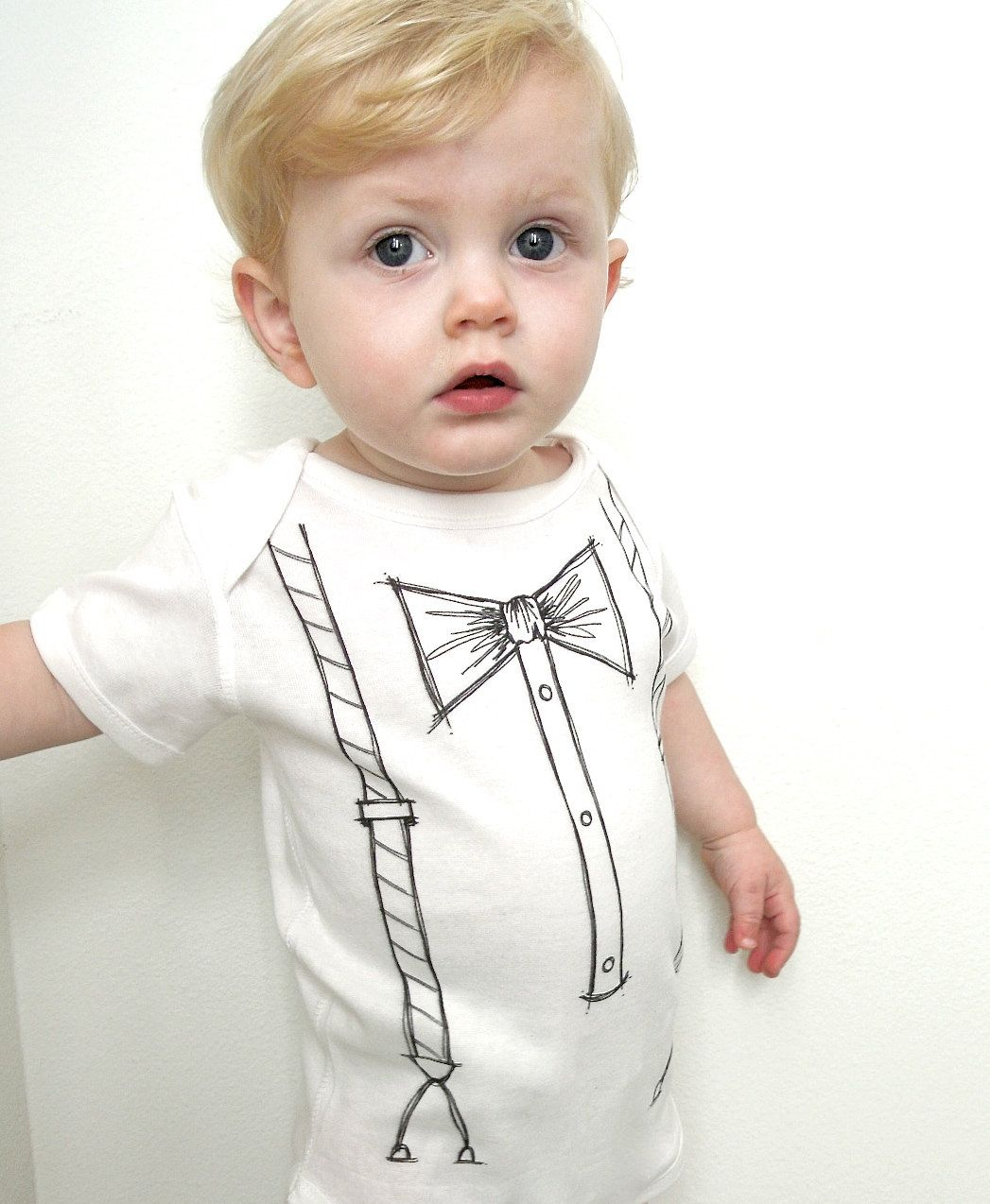 8f6ef641a790 bow tie and suspenders, trompe l'oeil, t-shirt or onesie, a printed hand  painted design. $16.00, via Etsy.