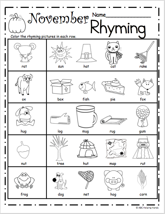 Free November Rhyming Worksheets School Learning