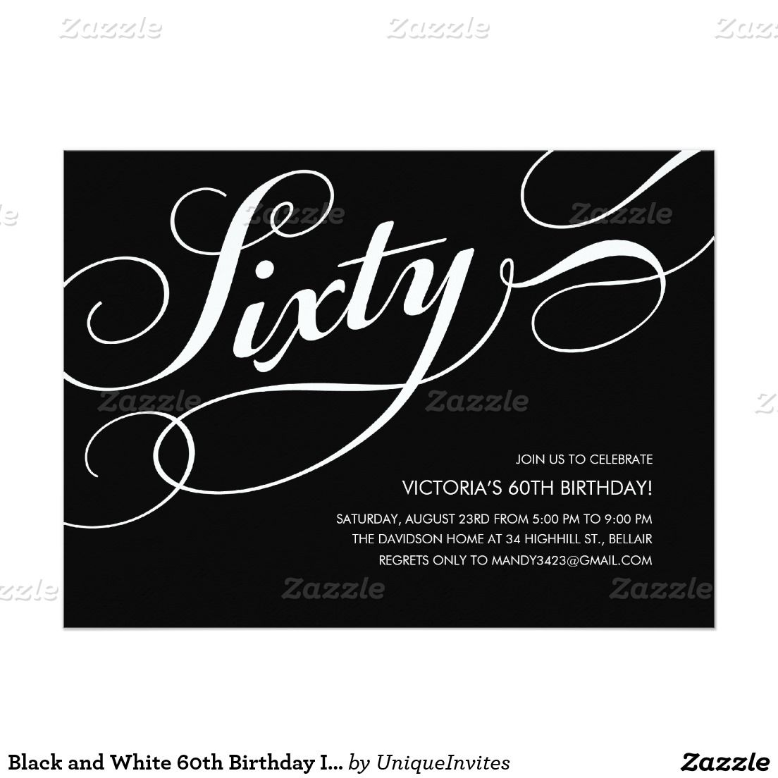 Black And White 60th Birthday Invitations