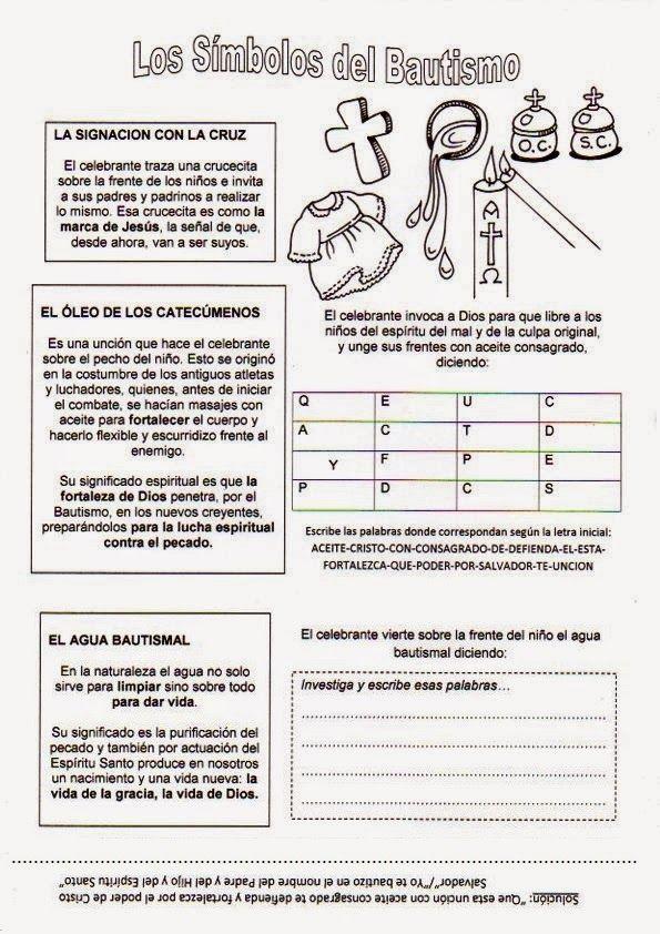 El Rincón de las Melli: Símbolos del bautismo con juegos | catecismo ...