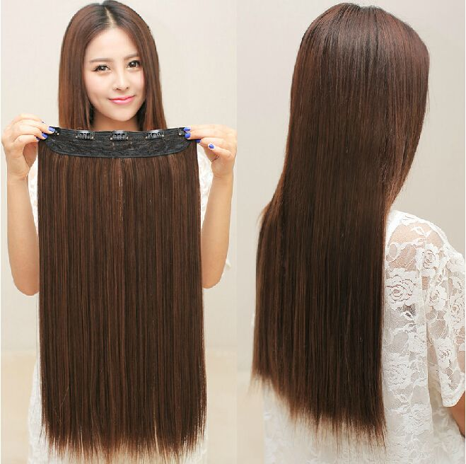 5 Clips In Hair Extensions Good Quality Brown Black Synthetic Hair