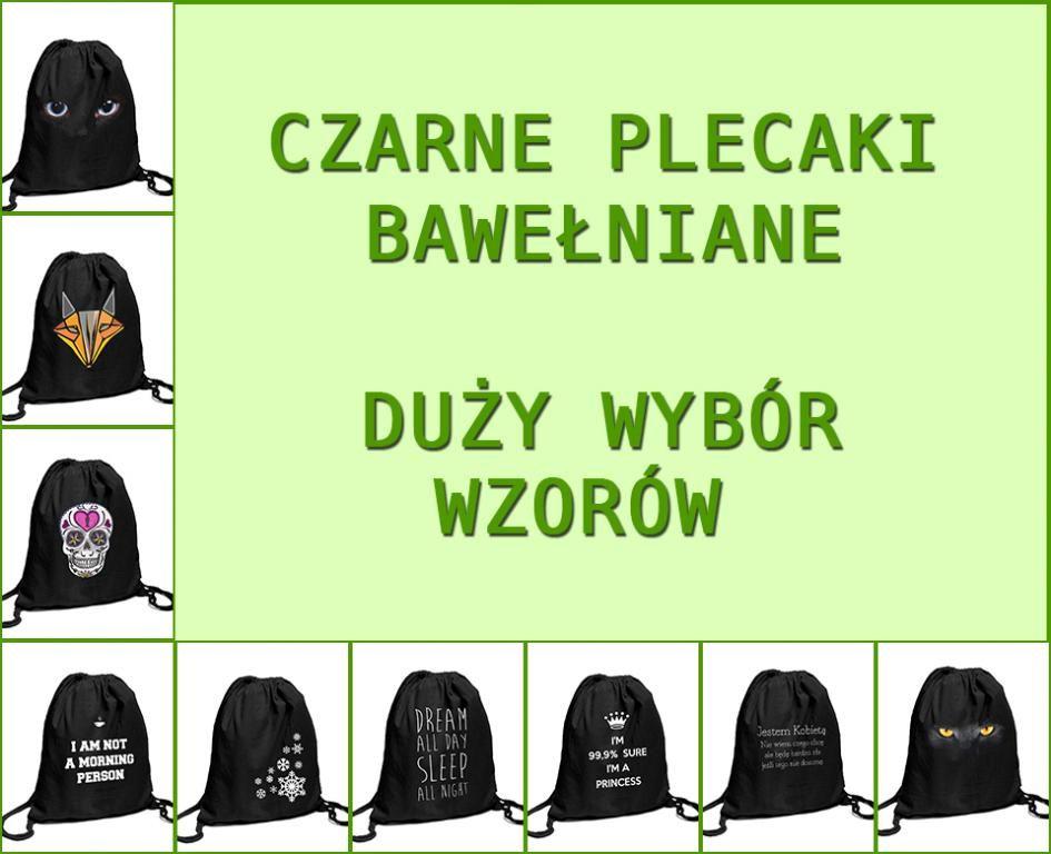 Czarny Plecak Worek Bawelniany Z Nadrukiem Wzory Shopping Items Shows