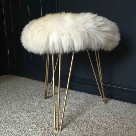 Sheepskin Stool With Hairpin Legs Sheepskin Stool Footstool Hairpin Legs