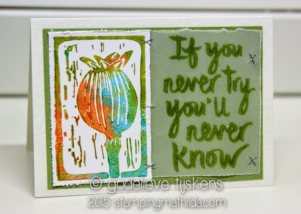 The quote stamp on this card is a new one by Darkroom Door:  Try .   I stamped the quote onto vellum, using Archival ink. The Carve...
