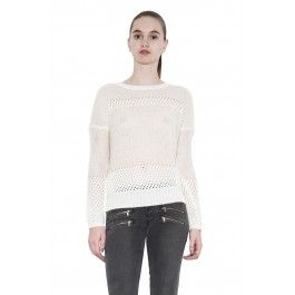 Dana sweater - powder by one grey day - drop shoulder pullover with open gage and rib contrast