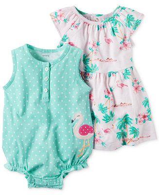 820336d4fcf7 Carter s 2-Pc. Cotton Flamingo Romper   Flamingo-Print Dress Set ...
