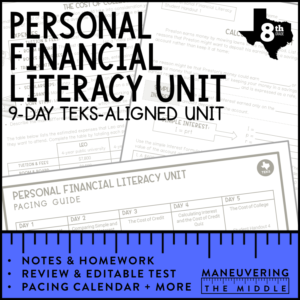 Personal Financial Literacy Activities for Middle School   Personal financial  literacy [ 1024 x 1024 Pixel ]