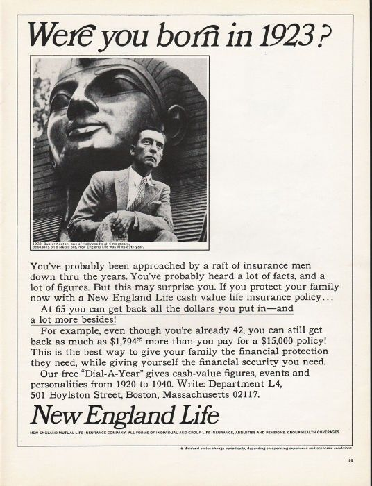 1965 New England Life Vintage Ad Born In 1923 Life Insurance