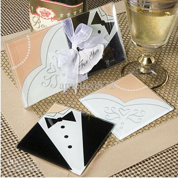 Wholesale Creative Wedding Gifts Bride And Groom Dress Glass Coasters Favors 2PCS SET50set