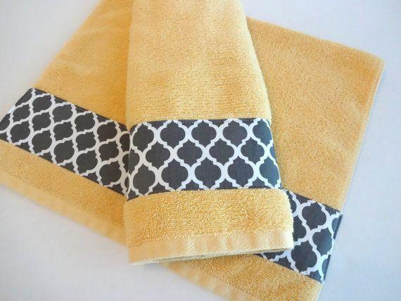 Hand Towel Set Hand Towels Yellow And Grey Bathroom Towel Sets Yellow Grey August Ave Gray Lattice Grey Quatrefoil Gray Toalhas De Banho Toalhas Banho