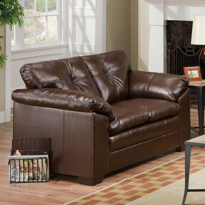 Simmons Sebring Coffee Bean Leather Loveseat 6569 02 Coffeebean