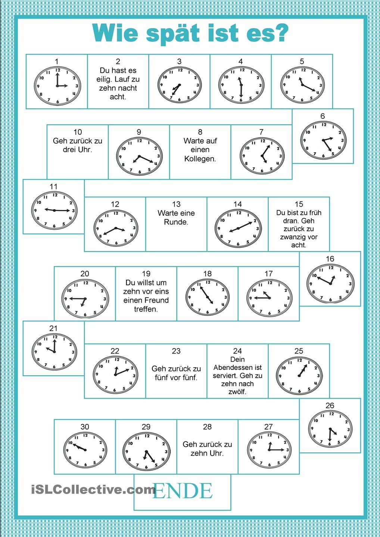 Arbeitsblatt Uhrzeiten Englisch : Brettspiele uhrzeiten mathe und schule