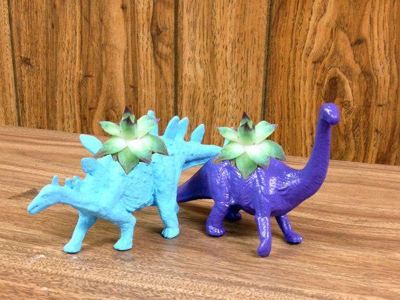 Up-cycled Small Purple Apatosaurus and Blue Stegosaurus Planters!!!!!!!!!!!!!!!!