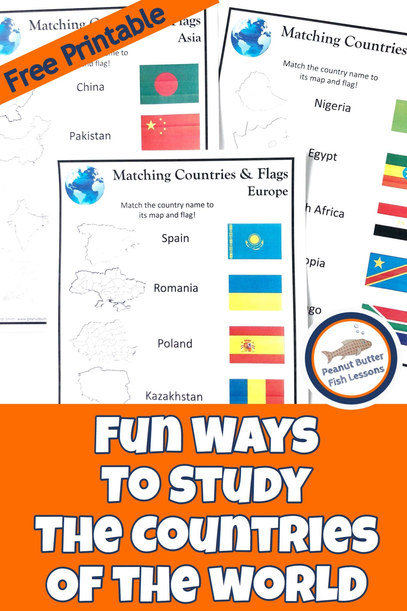Photo of Matching Countries and Flags FREE Printable