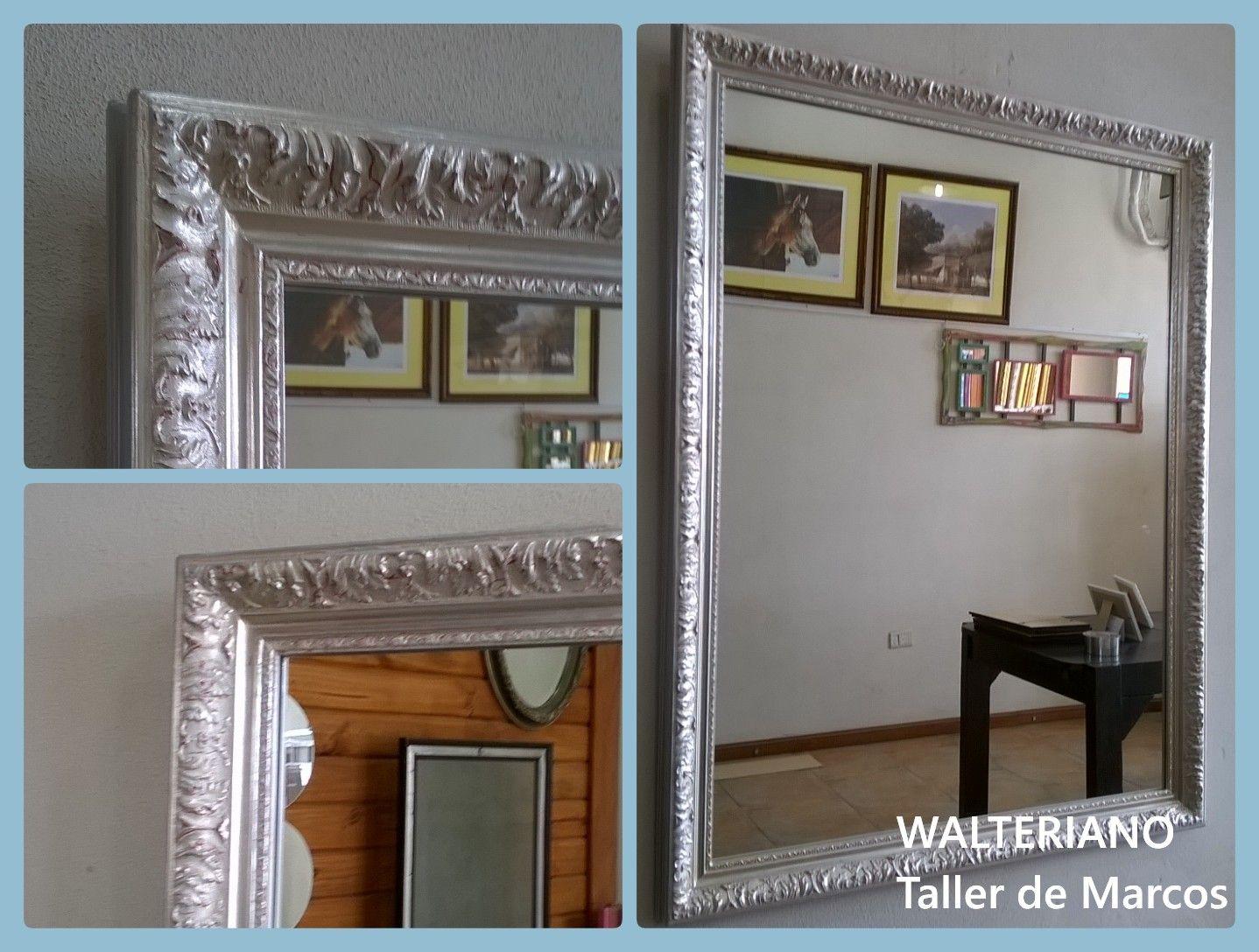 Marco plateado a la hoja con espejo marcos - Espejos marco plateado ...