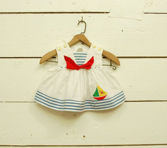 vintage NAUTICAL SAILOR infant baby girls dress 0-6 months on Etsy, Sold
