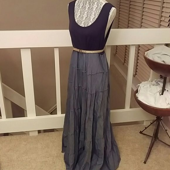 Chelsea And Theodore Chambray Maxi Dress Chambray Chelsea And