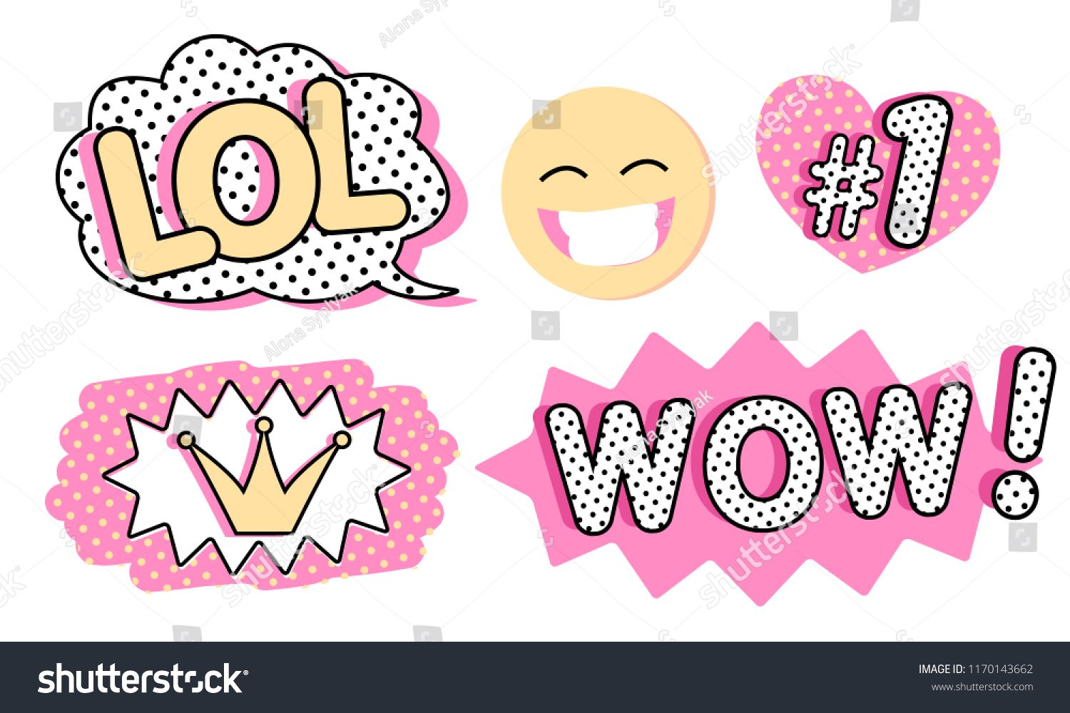 Set Of Cute Vector Stickers Bubble For Text Princess Crown