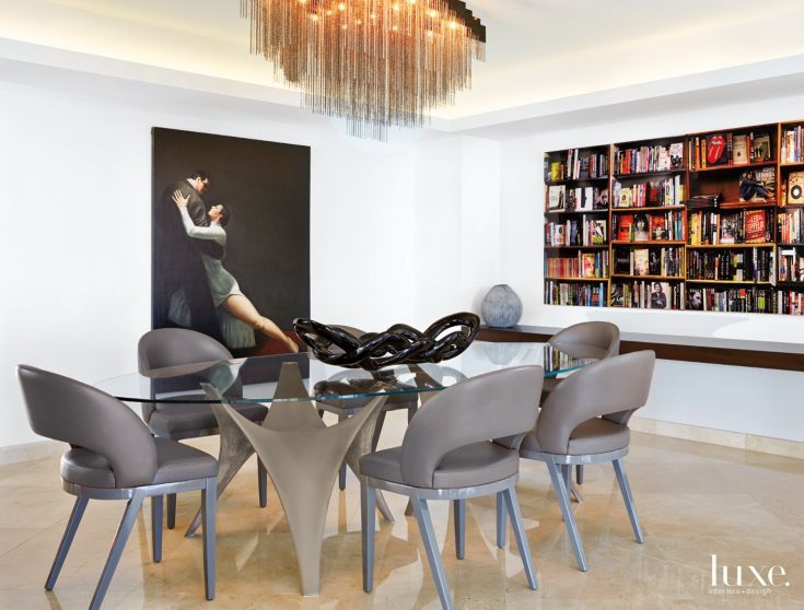 Contemporary Cream Dining Room with Tango Dancer Painting