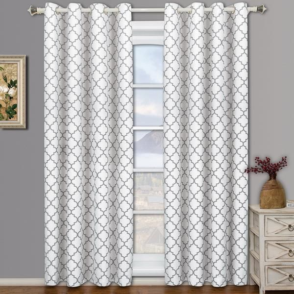 Set Of 2 Panels Royal Tradition Meridian White Thermal Insulated Room Darkening Curtain By Each Panel Package Contains 63 Inch Long