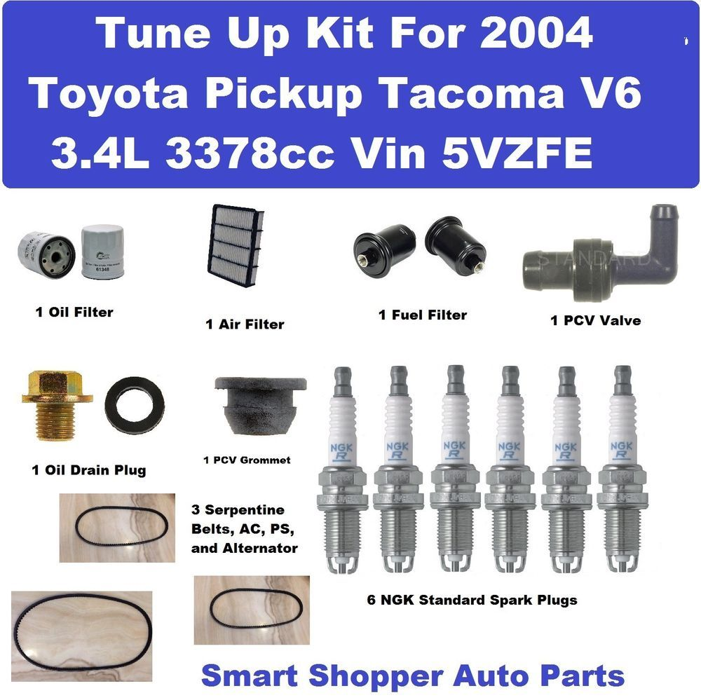 Tune Up Kit for 2004 Spark Plug, Oil Air Fue Filte, Belt