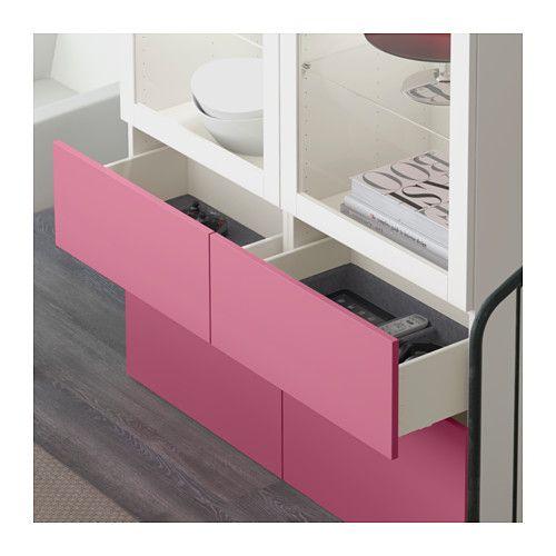 BESTÅ Opbevaringsløsning med vitrinelåger - Lappviken pink/Sindvik hvidt klart glas, skuffeskinne, åbnebeslag - IKEA