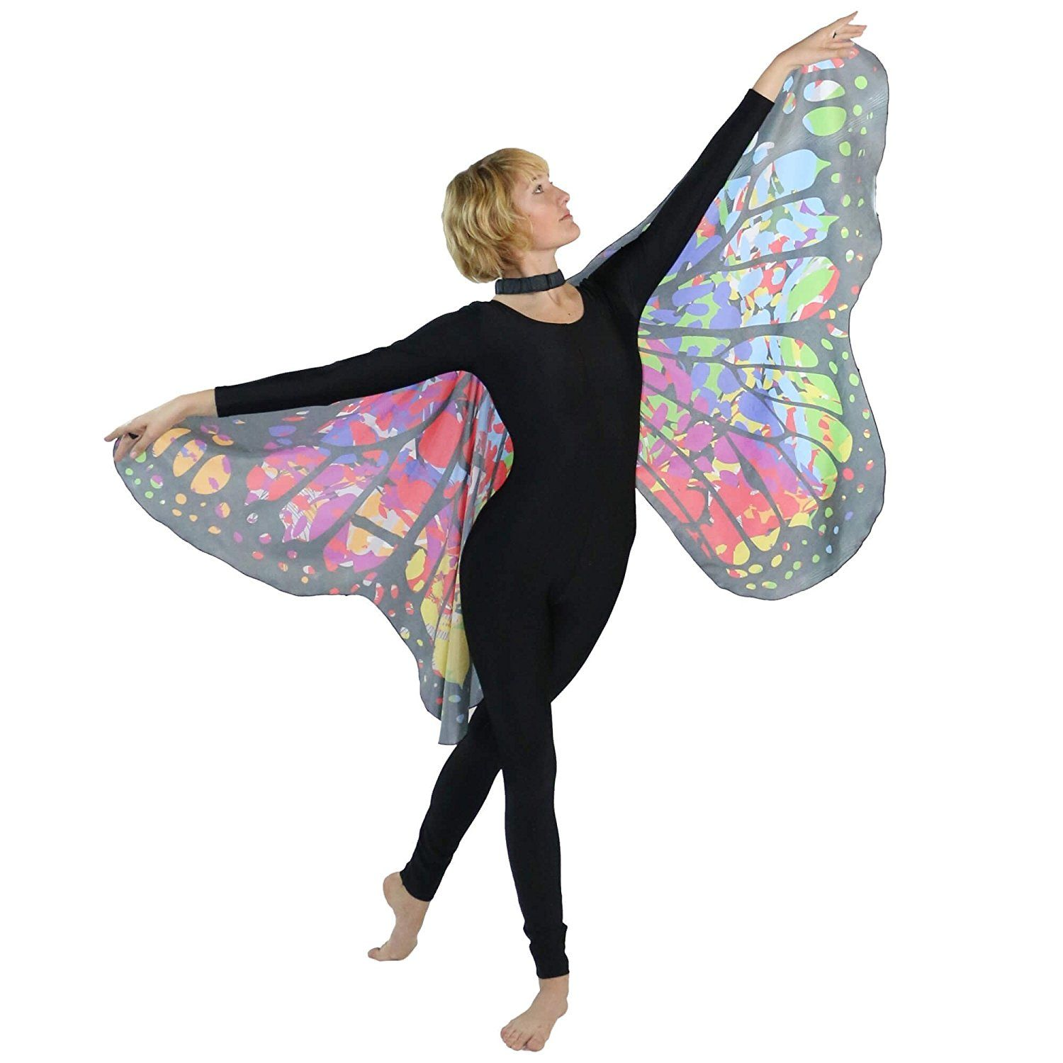 f1ecbf8e265cf Amazon.com: Danzcue Adult Soft Colorful Butterfly Wings Dance Costume  Accessory: Clothing