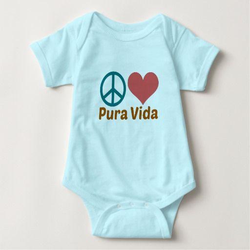 Costa Rica Peace, Love & Pura Vida Baby Bodysuit #costarica #puravida #peacelove #peace #love #puravidababy #zazzle