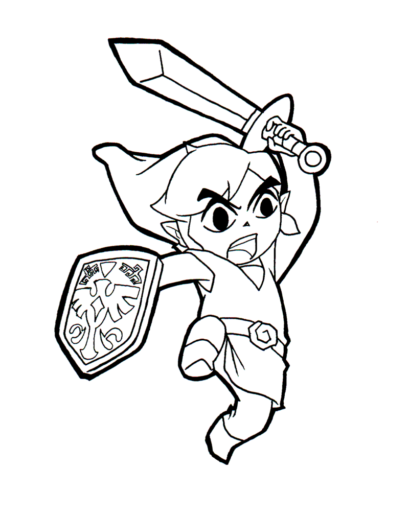 free printable zelda coloring pages for