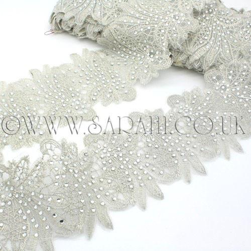 Embellishment Trims Haberdashery Crystals Rhinestones Fashion Pageant Patches Sewing Rhinestone Fabric Rhinestone Trim Silver Lace