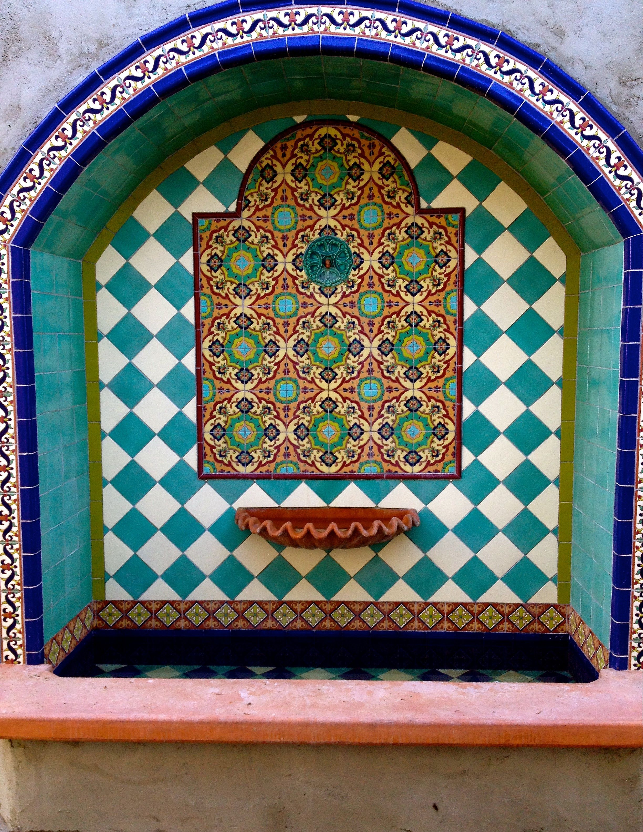 Hand painted ceramic tile fountain project tiles in fountains handpainted ceramic old california mission tile collection mediterranean patio san diego talavera ceramic tile studio dailygadgetfo Image collections