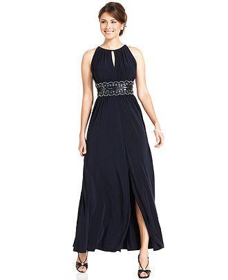 R&M Richards Petite Sleeveless Beaded Gown | Petite evening ...