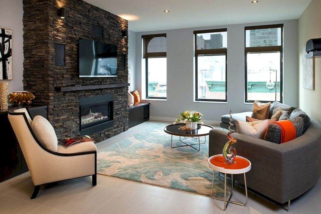 charming empty living room fireplace | 20 Charming Living Room with Contemporary Fireplace ...