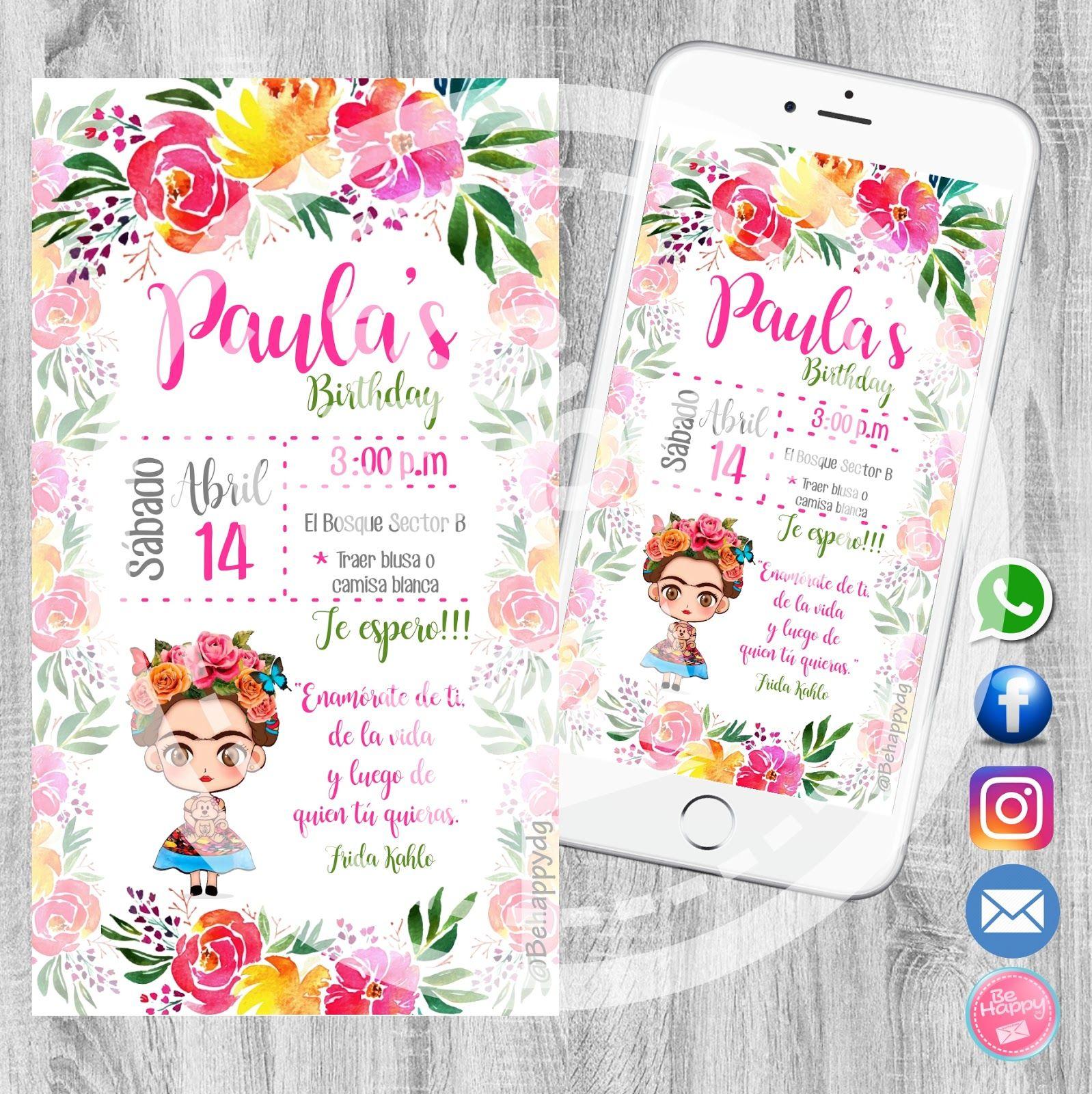 Be Happy Tarjeta De Invitación Digital Imprimibles Frida