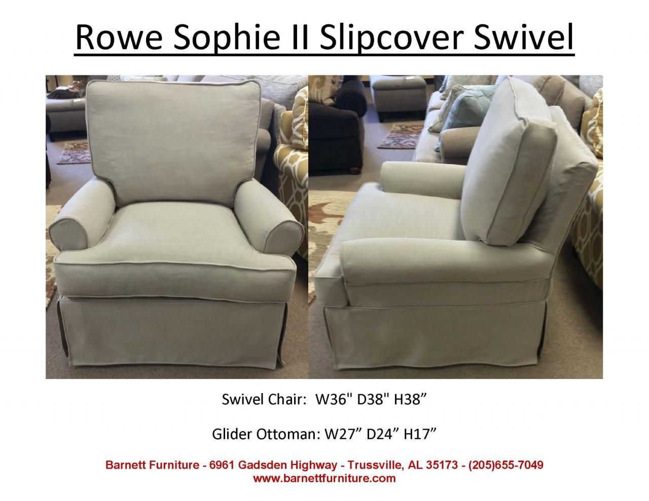 Beautiful Rowe Furniture Sophie II Slipcover Swivel Chair