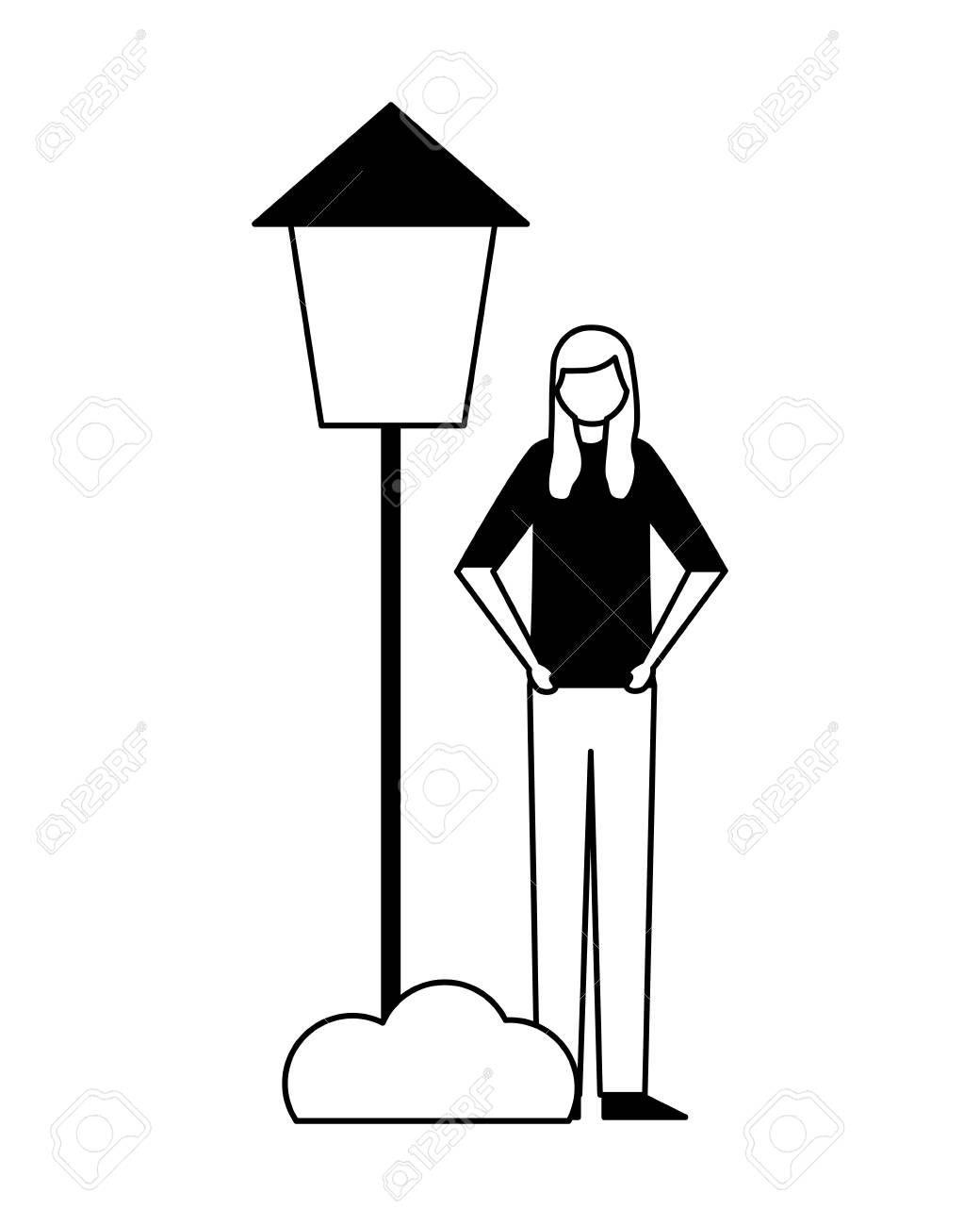Woman Standing With Post Lamp Bush Vector Illustration Spon Post Standing Woman Lamp Illustration Vector Illustration Illustration Art