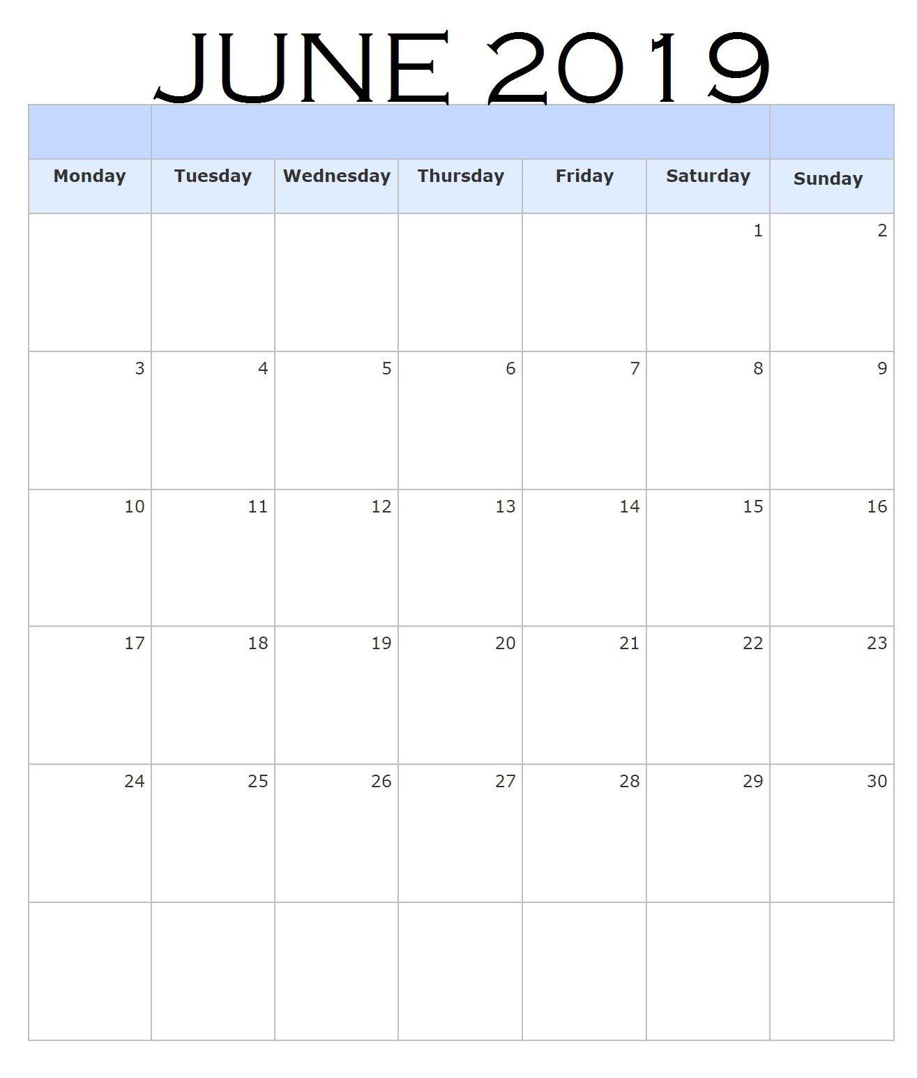 June 2019 Blank Templates Blank Calendar Template Calendar June