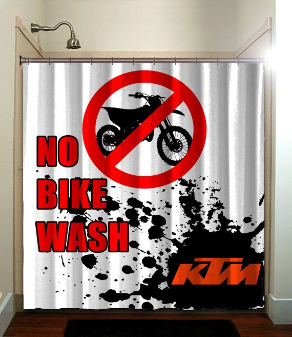 KTM MOTORCYCLE Printed Waterproof Polyester Fabric Shower Curtain With Latest Design Our Will Brighten Your Bathroom And Create A Comfortable