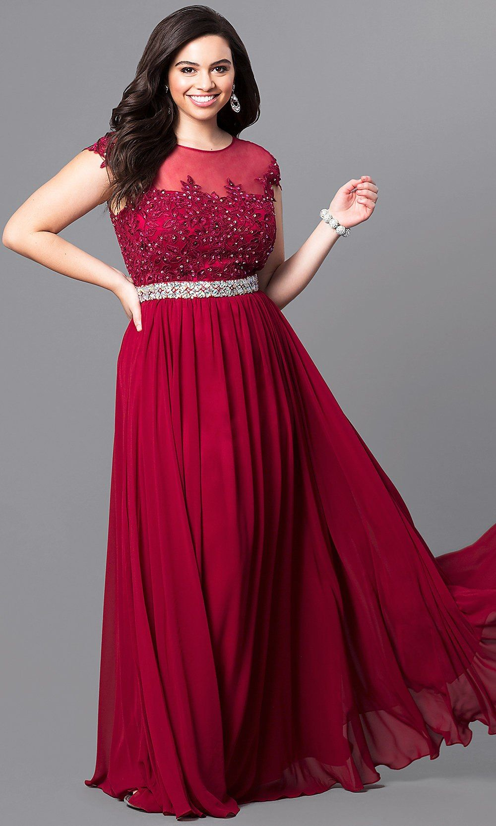 Long plussize formal dress with illusionlace bodice princesse