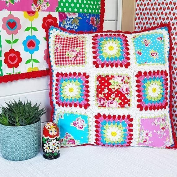Crochet edged granny square patchwork All Mixed Up cushion crochet, patchwork, decorative pillow in blue, pink and red Lecien fabrics #pillowedgingcrochet Crochet edged granny square patchwork All Mixed Up cushion crochet, patchwork, decorative pillow i #pillowedgingcrochet Crochet edged granny square patchwork All Mixed Up cushion crochet, patchwork, decorative pillow in blue, pink and red Lecien fabrics #pillowedgingcrochet Crochet edged granny square patchwork All Mixed Up cushion crochet, pa #pillowedgingcrochet