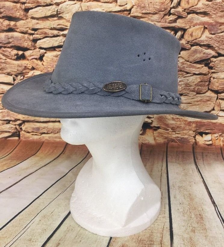 Overlander Australian Men S Jimy Black Gray Leather Suede Cowboy Hat Size Xl Overlander Outbackhat Cowboy Hats Grey Leather Hat Sizes