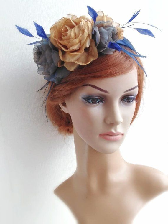 a18bcc4632ca9 Navy blue and gold flowers headdress