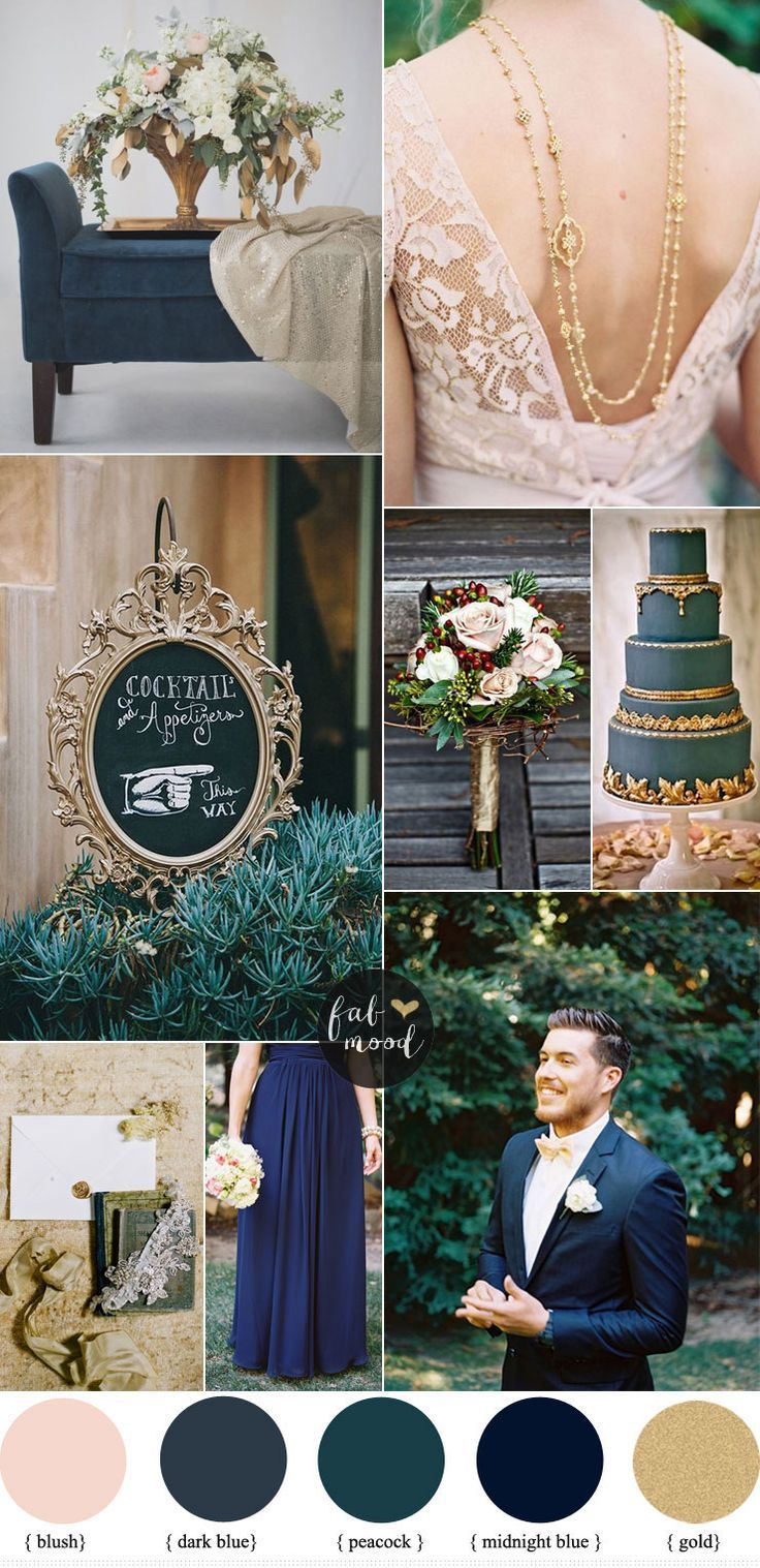 Dark Blue Wedding Color Schemes And Gold Theme Fabmood