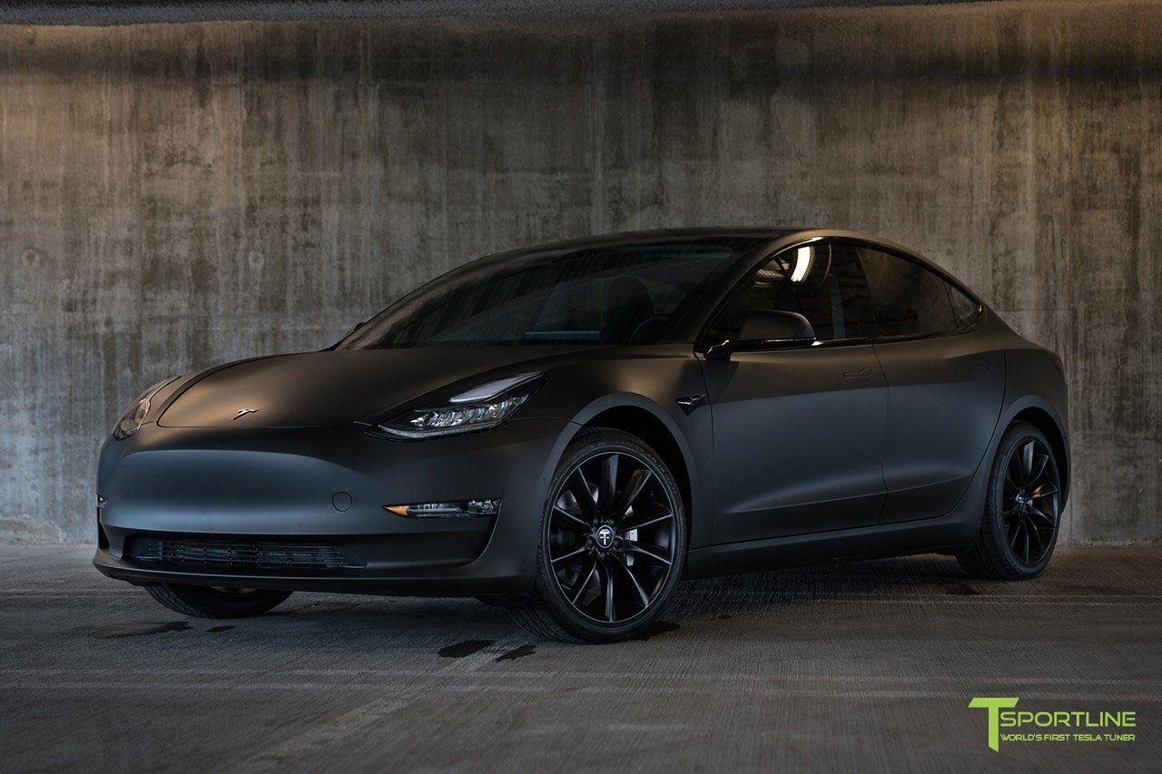Matte Black Tesla Model 3 In 2020 Tesla Model Tesla Matte Black Cars