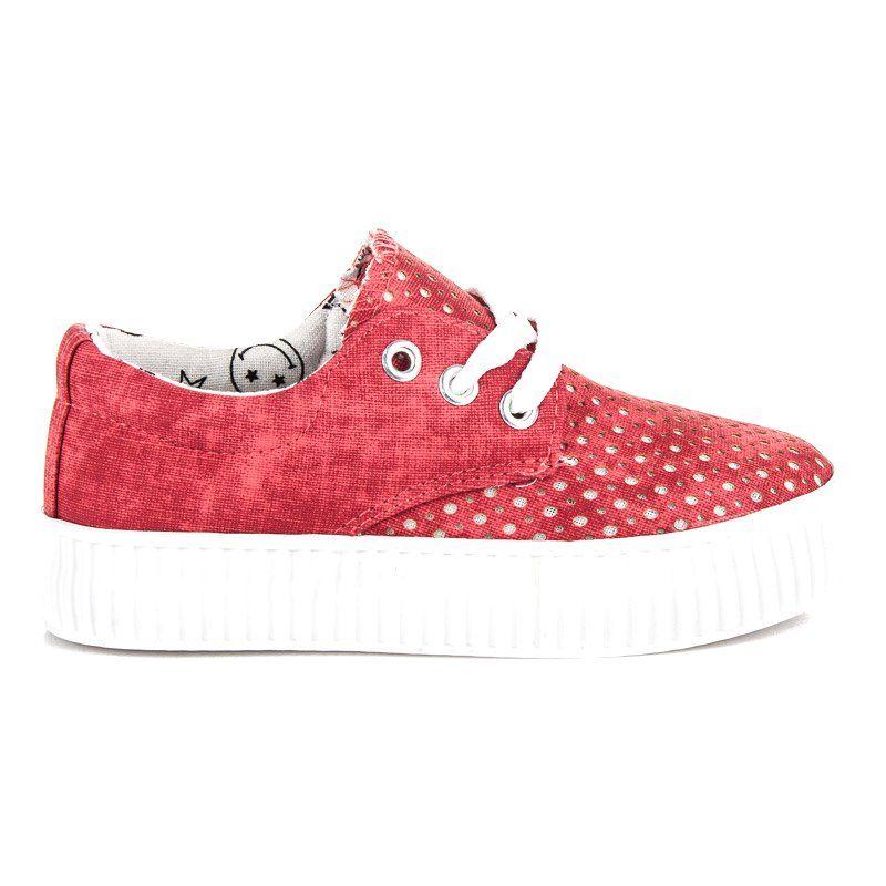 Buty Sportowe Dzieciece Dla Dzieci Kylie Czerwone Wiazane Trampki Na Platformie Kylie Baby Shoes Sneakers Sketchers Sneakers