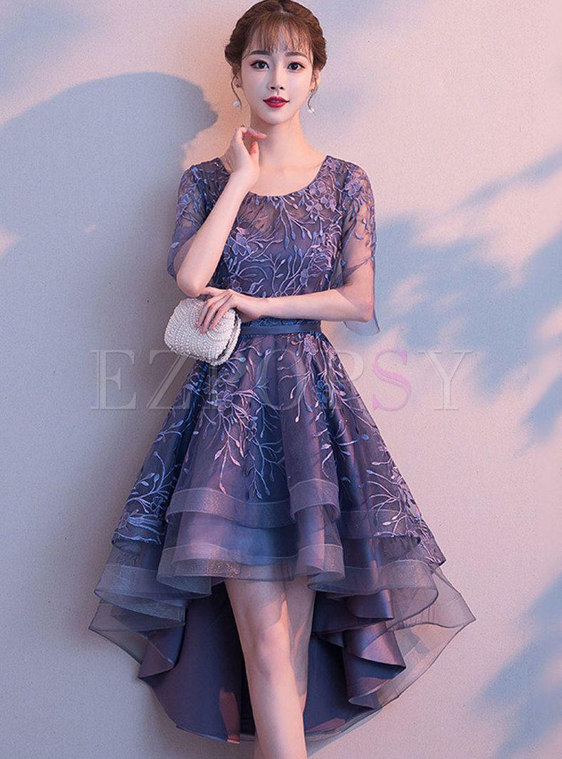 d21ae0a2f6cb Elegant Party V-neck Slim Asymmetric Embroidered Dress i 2019 ...